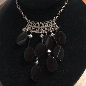 Boho black and silver bead necklace.